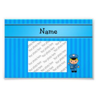 Listras azuis personalizadas do carteiro conhecido impressão de foto