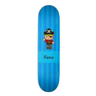 Listras azuis personalizadas do pirata conhecido skates personalizados