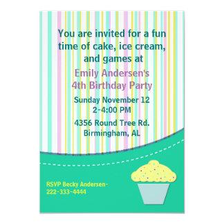 Listras bonito e convite do aniversário do cupcake convite 12.7 x 17.78cm