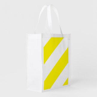 Listras brancas amarelas da atenção sacolas ecológicas para supermercado