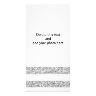 Listras brancas do encanto com o brilho de prata cartão com foto