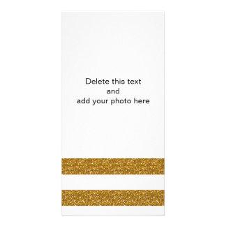 Listras brancas do encanto com o brilho do ouro cartão com foto