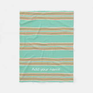 Listras brancas verdes modernas personalizadas cobertor de lã