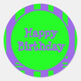 Listras brilhantes do feliz aniversario adesivos em formato redondos