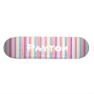 Listras coloridas femininos personalizadas do shape de skate 19,7cm
