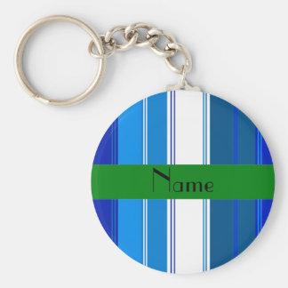 Listras conhecidas personalizadas do azul e dos br chaveiro