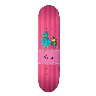 Listras conhecidas personalizadas do rosa do pavão shape de skate 20cm