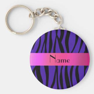 Listras conhecidas personalizadas do roxo da zebra chaveiro