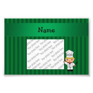Listras conhecidas personalizadas do verde do cozi impressão de fotos