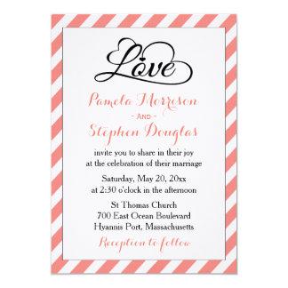 Listras cor-de-rosa & brancas que Wedding - Convite 12.7 X 17.78cm