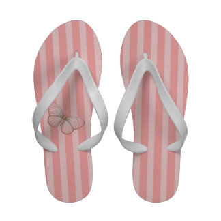Listras cor-de-rosa com borboleta flip-flop