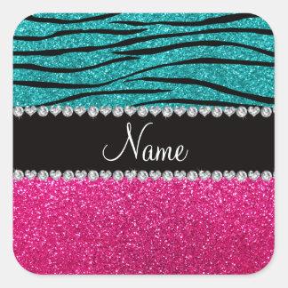 Listras cor-de-rosa conhecidas feitas sob encomend adesivos quadrados