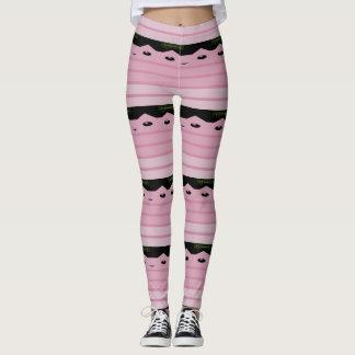 Listras cor-de-rosa do gatinho leggings