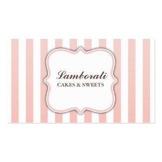 Listras cor-de-rosa e brancas bonitos modernas ele cartoes de visitas