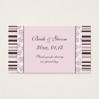 Listras cor-de-rosa e Tag florais do favor do Cartão De Visitas