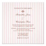 Listras cor-de-rosa lisas que Wedding convites Convite Quadrado 13.35 X 13.35cm