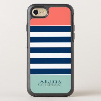 Listras corais elegantes modernas do branco do capa para iPhone 7 OtterBox symmetry