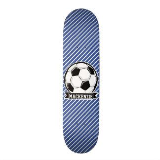 Listras da bola de futebol, as azuis & as brancas, shape de skate 18,1cm
