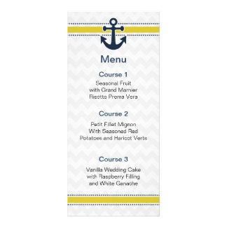 listras da viga, âncora, cartões náuticos do menu 10.16 x 22.86cm panfleto