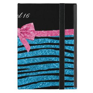 Listras da zebra do brilho dos azul-céu do doce 16 capas iPad mini