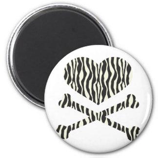 listras da zebra do coração e dos crossbones ímã redondo 5.08cm