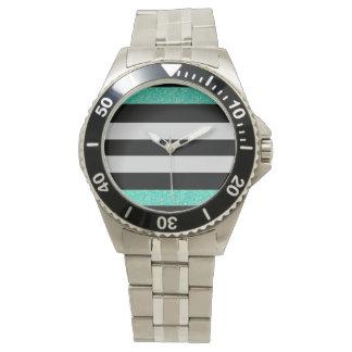 Listras de aço inoxidável do relógio w/black do