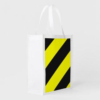Listras de advertência da atenção preta amarela sacolas reusáveis