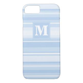 Listras de azuis bebés do monograma capa iPhone 7