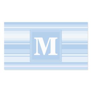 Listras de azuis bebés do monograma cartão de visita