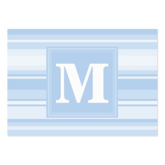 Listras de azuis bebés do monograma cartão de visita grande