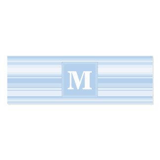 Listras de azuis bebés do monograma cartão de visita skinny