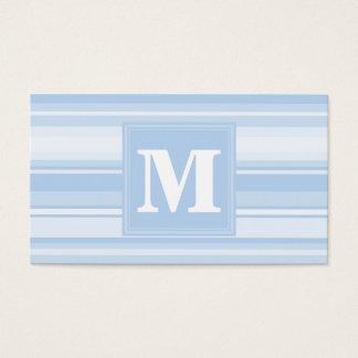 Listras de azuis bebés do monograma cartão de visitas