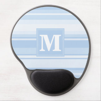 Listras de azuis bebés do monograma mouse pad de gel