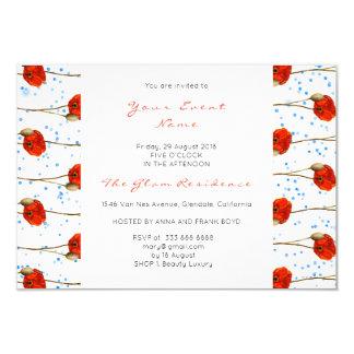 Listras delicadas brancas dos confetes azuis convite 8.89 x 12.7cm
