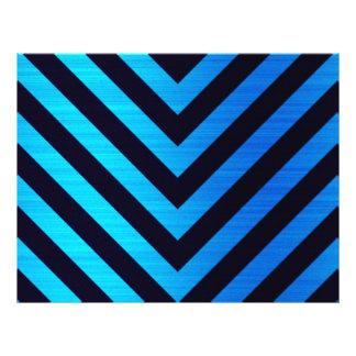 Listras descendentes azuis e pretas do perigo flyer 21.59 x 27.94cm