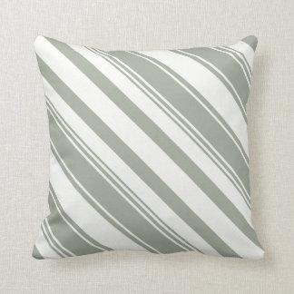Listras diagonais cinzentas esverdeados prudentes travesseiros