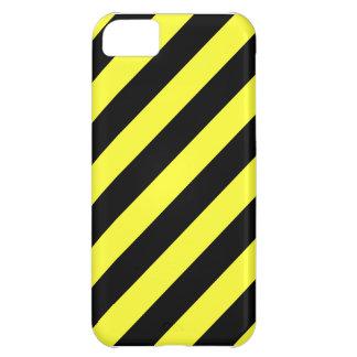 listras diagonais preto e amarelo capa para iPhone 5C