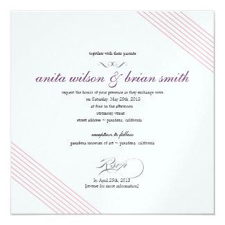 Listras diagonais que Wedding o convite moderno