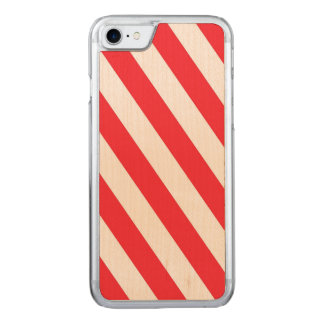 Listras diagonais vermelhas e brancas do bastão de capa iPhone 7 carved