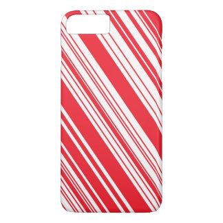 Listras diagonais vermelhas e brancas do bastão de capa iPhone 7 plus