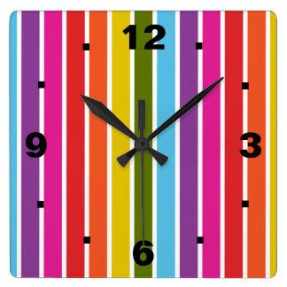 Listras do arco-íris relógio quadrado