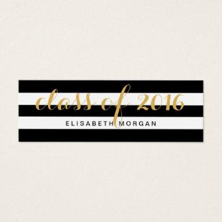 Listras do branco do preto da caligrafia do ouro cartão de visitas mini
