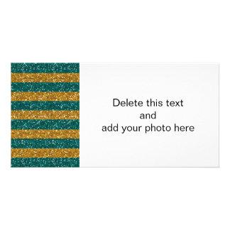 Listras do brilho do ouro e do verde impressas cartão com foto