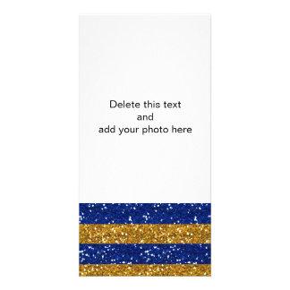 Listras do brilho do ouro e dos azuis marinhos cartão com foto