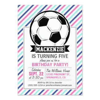 Listras do futebol, do azul, do rosa, & as convite personalizado