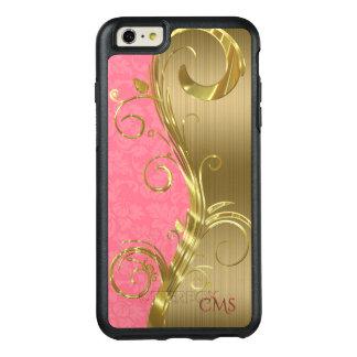 Listras do ouro e damasco cor-de-rosa