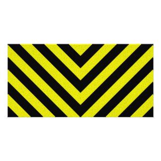 Listras do perigo da construção cartão com foto