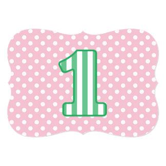 Listras do primeiro aniversario do bebê e pontos convite 12.7 x 17.78cm