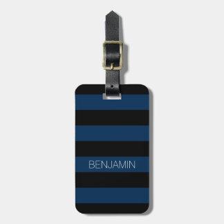 Listras do rugby dos azuis marinhos e do preto com etiqueta de bagagem