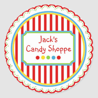 Listras doces do circo dos doces adesivo em formato redondo